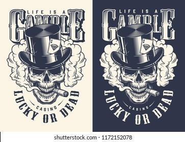 Skull casino concept t-shirt print. Vector illustration
