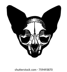 Skull of a cat. Cat silhouette. Tattoo, symbol line art drawing. Boho print, poster, t-shirt. textiles. Vector illustration art. Vintage engraving. Vintage style. Traditional art tattoos. Blackwork.