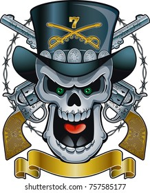 Skull with cavalry hat, crossed guns, barbed wire and banner