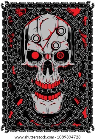 Skull Chain Vector Motorcycle Wrench Illustration Stock Vector
