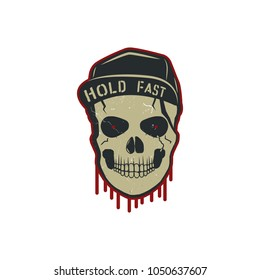 Skull character with blood stains, cap. Vintage hand drawn street style. Urban city attributes. No shave sign. Monochrome. Hipster head icon. Stock vector isolated on white