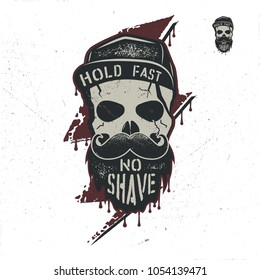 Skull character with blood stains, cap. Vintage hand drawn label, street style. Urban city attributes. No shave sign. Monochrome. Hipster icon. Stock vector isolated on white background.