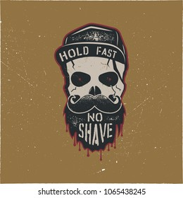Skull character with blood stains, cap. Vintage hand drawn label, street style. Urban city attributes. No shave sign. Hipster icon. Stock vector isolated on gold background.