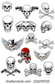 Skull characters for halloween, pirates and piracy decorated with crossed bones, crossed pistols, wings and bandanna in black and white