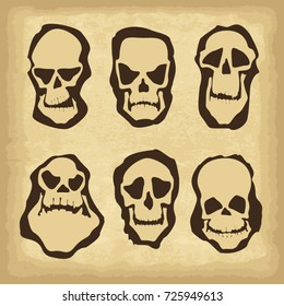 Skull characters icons set. Template for your design works. Vector illustration.