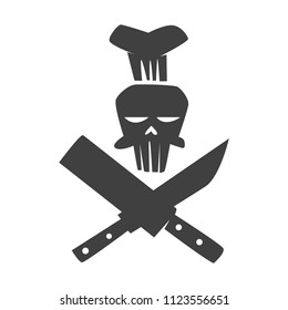 skull chef with crossed knives on a white background