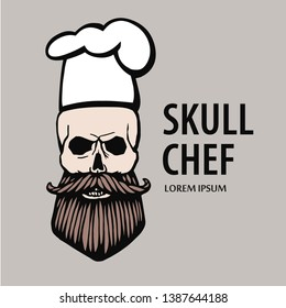 skull in chef hat with beard and mustache isolated vector illustration. Skull chef logo
