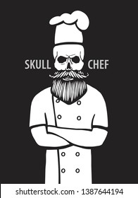 skull in chef hat with beard and mustache isolated vector illustration.