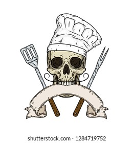 Skull. Skull in a chef hat. Cartoon skull. Chef skull with barbecue tools and ribbon for your text