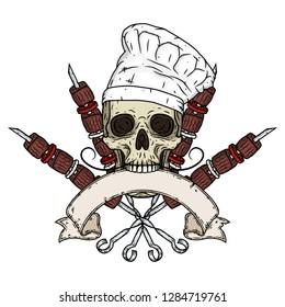 Skull. Skull in a chef hat. Cartoon skull. Chef skull with kebab and ribbon for your text
