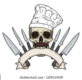 Skull in a chef hat. Cartoon skull. Chef skull with knife and ribbon for your text