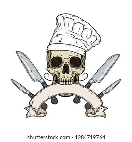 Skull. Skull in a chef hat. Cartoon skull. Chef skull with knifes and ribbon for your text