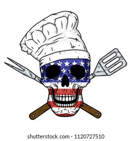 Skull in chef's hat, crossed barbecue tools and American flag. Chef skull