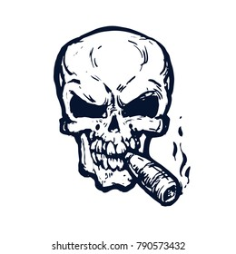 Skull with cigar smokes. Outline sketch on white background ink hand-drawn stock vector illustration for tatoo. coloring book page design