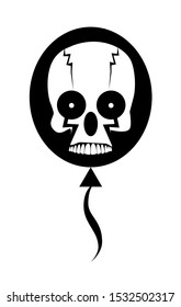 Skull Clown in a balloon, black and White background