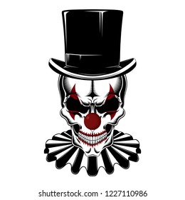 Skull of a clown in a hat-cylinder and jabot.