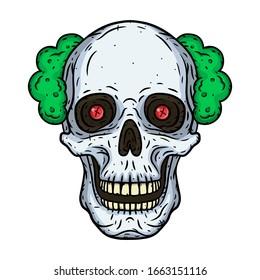 Skull. Clown skull isoleted in white background