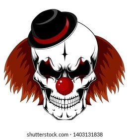 Skull of a clown with red hair in a black hat. Vector image on white background.