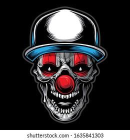skull clown vector logo illustration