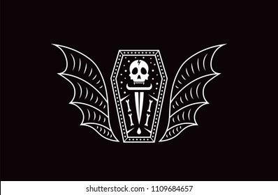 Skull coffin vampire. Logo skull vector illustration.