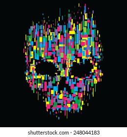 Skull color illustration, t-shirt graphics, vectors