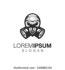 skull color logo design vector