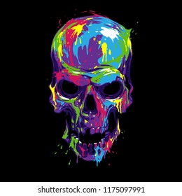 Skull in color paint