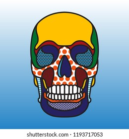 Skull colored vector print