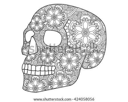 Skull Coloring Book Adults Vector Illustration Stock Vector Royalty