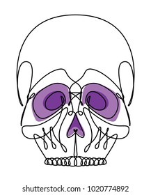 Skull Continuous Line Vector