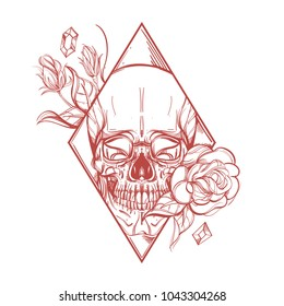Skull contour sketch for tattoo, for printing on T-shirts and other items, for stickers. Template for coloring, engraving, pyrography.