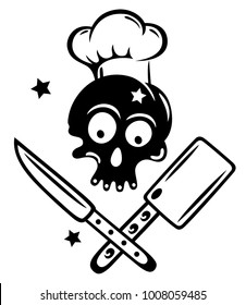 Skull with cooking hat, knives and stars.