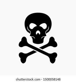 Skull and Coss Bones Icon - Vector, Poison Sign and Symbol for Design, Presentation, Website or Apps Elements.