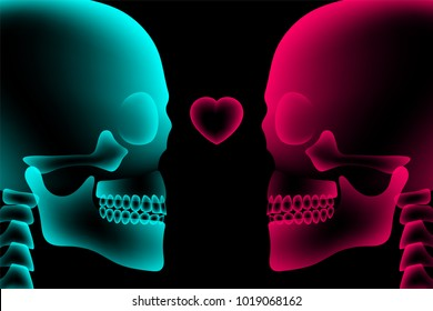 Skull couple X-ray with Heart symbol, love concept design, side view illustration isolated glow in the dark background, with copy space
