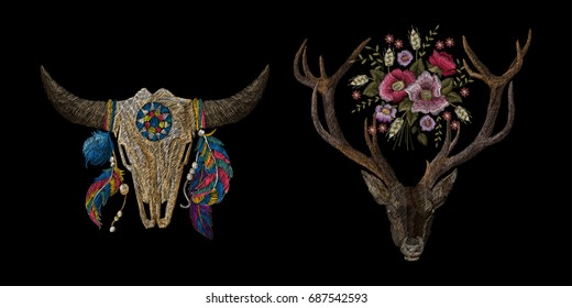 skull of a cow with feathers, deer with flowers. Traditional folk stylish stylish embroidery on the black background. Sketch for printing on fabric, clothing, bag, accessories and design. Trend vector