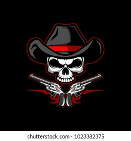 skull cowboy with guns vector logo template