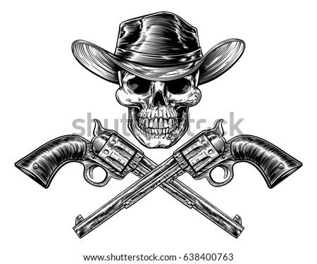 Skull cowboy in hat and a pair of crossed gun revolver handgun six shooter  pistols drawn in a vintage retro woodcut etched or engraved style - Vector 4937380ce3eb