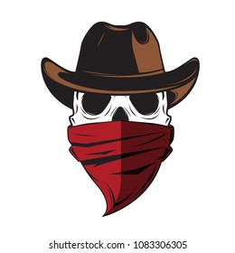 a0df493028c Skull Cowboy with Hat   Red Scarf.