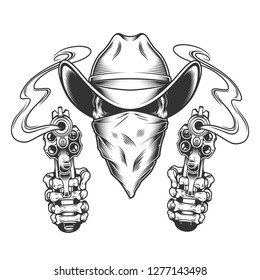 42cee135cf7 Skull in cowboy hat and scarf with skeleton hands holding pistols in  vintage style isolated vector