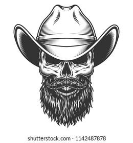 Skull in the cowboy hat. Vector illustration