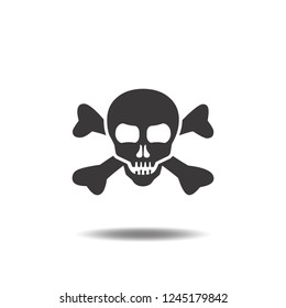 Skull or cranium and crossbones icon vector flat sign symbols logo illustration isolated on white background black color.Concepts objects for death,danger,Halloween,poison and ghost.