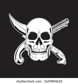 skull with cross gun and sword tattoo. skull logo. vector illustration