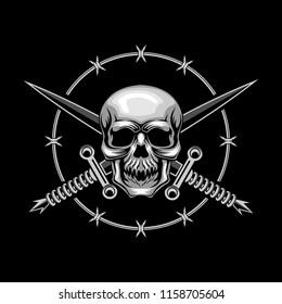 Skull and Cross Swords vector illustration
