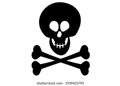 Skull and Crossbones Black Icon on White Background