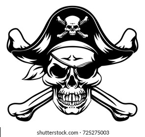A skull and crossbones dressed as a pirate with hat and eye patch
