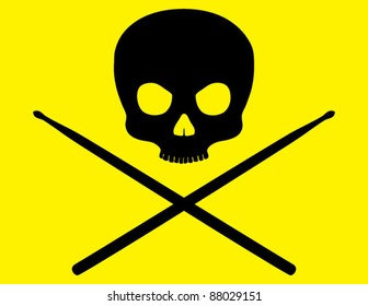 Skull and Crossbones with Drumsticks on Bright Yellow Background