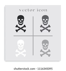 Skull and crossbones flat black and white vector icon.