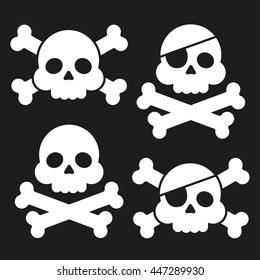 """Skull and crossbones flat icon. Skull and crossbones isolated on background. Pirates flag """"Jolly Roger"""". Vector set"""
