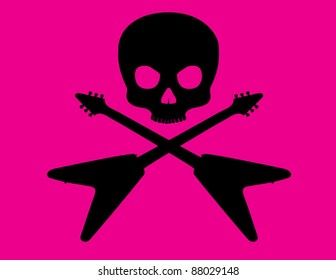 Skull and Crossbones with Flying V Guitar on Hot Pink Background