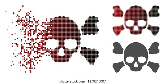 Skull crossbones icon in dispersed, pixelated halftone and undamaged entire variants. Pixels are combined into vector dispersed skull crossbones icon.